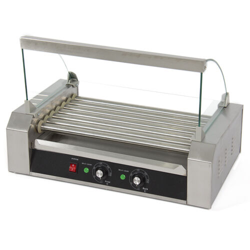 Hot Dog Roller 18 Dogs Grill Cooker W/ Glass Hood Commercial Machine Vending