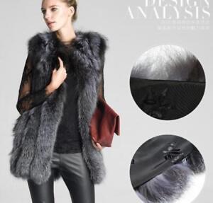 Fur Farm Ermeløs Pels Outwear Fox Luksus vinterjakker Parkas Kvinders 6TwqwPI