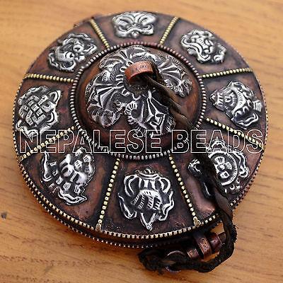 HD101 Old Tibetan Copper Brass White Metal Ting-sha Box with 8 Auspicious Symbol