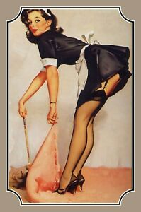 Pin up Girl Maid Tin Sign Shield Arched 20 X 30 CM CC0820