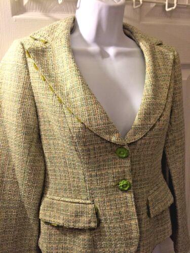 da Tweed Pelle Green Lepore Buttons donna smerlata Nanette 0 Sz Flower Blazer U7ZEXw