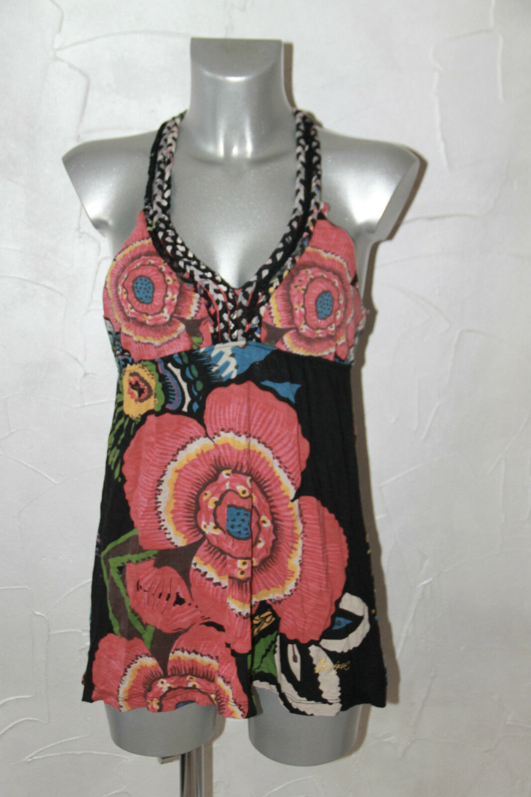 Pretty Top Top Viscose Cotton Barriole Desigual Size L Mint