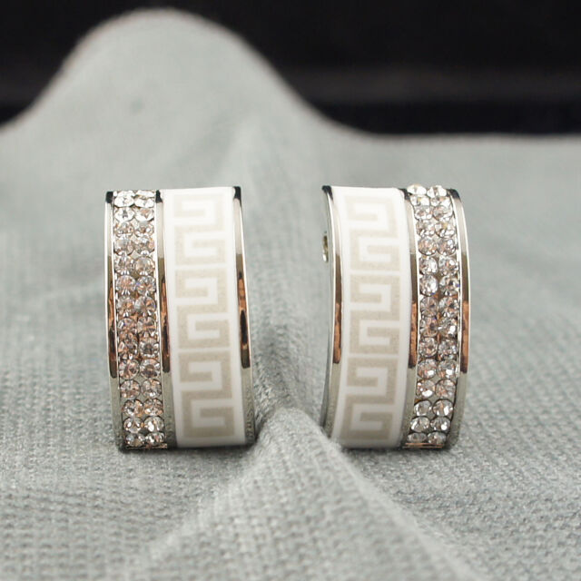18k white Gold plated Swarovski crystals elements solid earrings