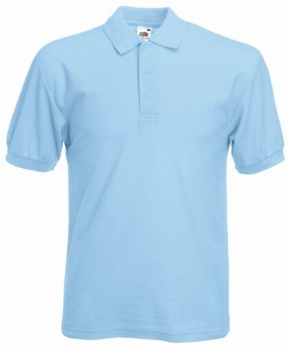 Fruit Of The Loom Plain 65//35 Polyester Cotton BLUE Polo Shirt NO LOGO