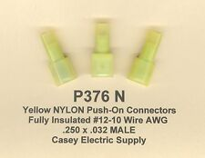 50 Yellow NYLON Fully Insulated FLAG Terminal Connector #12-10 Wire Gauge .250