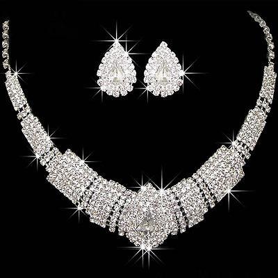 Graceful Wedding Bridal Prom Rhinestone Crystal Necklace Earrings Jewelry Sets