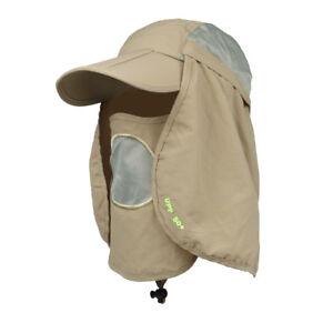 Khaki-Big-Brim-Hat-Camping-Fishing-Outdoor-Sport-360-Sun-UV-Protection-Cap