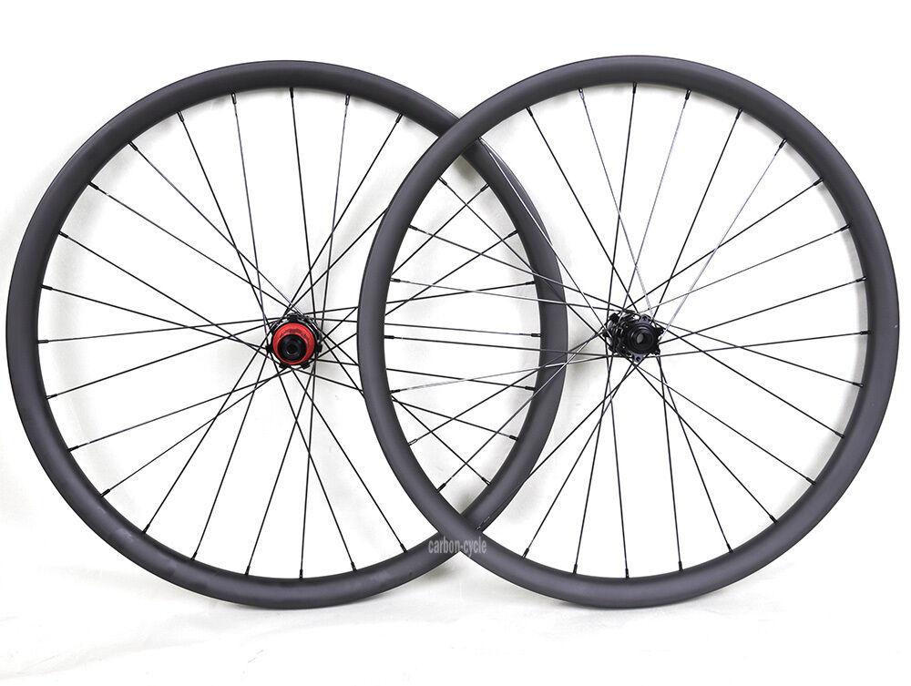 29  Carbon MTB Wheel Clincher Beadless 142x12 Thru Axle 135 QR 35mm UD Matt