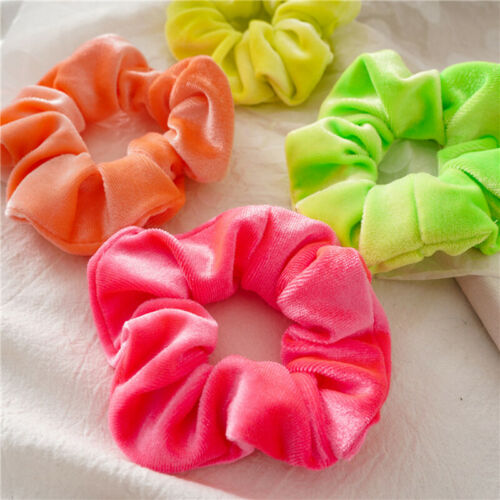 4pcs Fluorescent Color Scrunchies Elastic Hair Ties Ponytail Holder Hairband4H