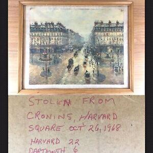 1968-Harvard-Dartmouth-Football-Rivalry-Token-Pissarro-Art-Framed-Cronins-Bar