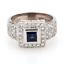 18K-White-Gold-Mayors-Estate-Sapphire-Diamond-Statement-Ring-1-41-CTW-Size-6-75 thumbnail 1
