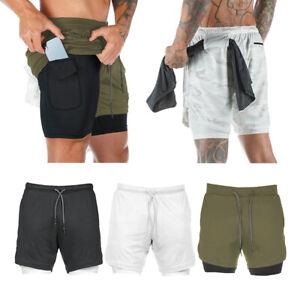 Herren Shorts Fitness Hosen Sport schnell trocknende Shorts 2 in 1 Kurze