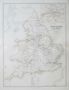 Country Map Of England.1881 England Wales To Illustrate The Railway System Of The Country