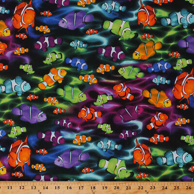 Clownfish Multi Color Fabric Quilting Sewing Timeless Treasures BTY BTHY FQ
