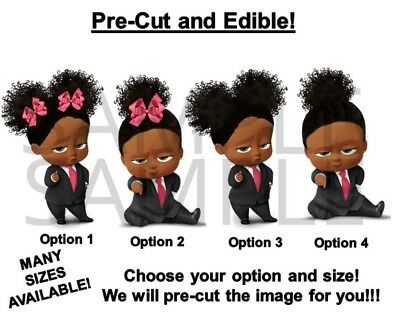Pre Cut African American Sassy Boss Baby Girl Pink Bows Edible Cake Topper Image Ebay