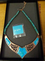 Turquoise Mosaic Inlay Collar With 'desert Rose' Alloy, Jay King Mine Finds