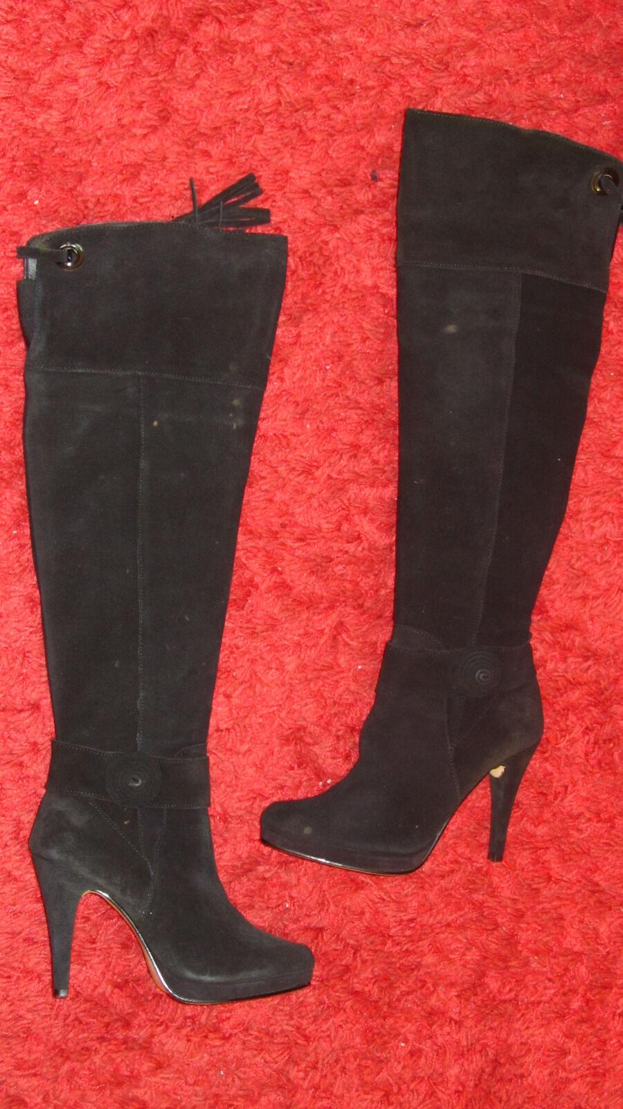 Por Por Por encima de la rodilla de cuero negro botas Mujer Talla 6 Super Sexy 55dc14