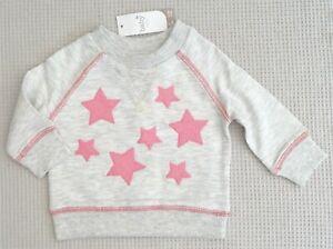BNWTS-M-amp-Co-Baby-Girls-Light-Grey-Sweat-Shirt-Jumper-Pink-Sequin-Stars-0-3-months