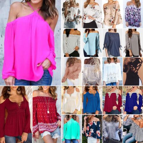 Women/'s Summer Off Shoulder Shirts Long Sleeve Casual Blouse Tops Loose T-shirt