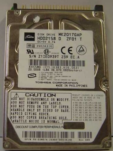 "10% off 2+ Toshiba MK2017GAP HDD2158 20GB 2.5"" IDE Drive Tested Free US Ship"