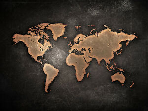 World Map Canvas Print Choose Your Size A4 A3 A1 20x30 Or 16x20