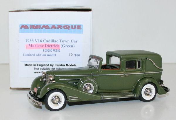 MINIMARQUE 1 43 GRB92B  1933 V16 CADILLAC TOWN CAR - MARLENE DIETRICH - verde