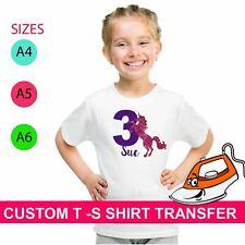Personalized Unicorn Sparkle Birthday Age Iron On Fabric Heat Transfer T Shirt