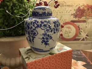 Ginger-Jar-Blue-amp-White-Floral-Made-In-Japan-5-H-FREE-SHIPPING