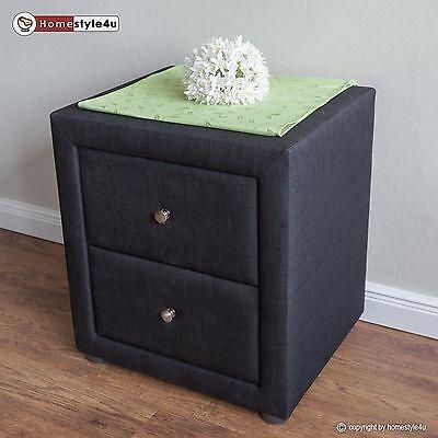 Nachtschrank Nachttisch Schlafzimmer Nachtkommode Beistelltisch schwarz Stoff