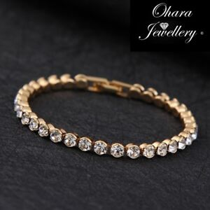 18k-Gold-Cubic-Zirconia-Tennis-Bridal-Bridesmaid-CZ-Crystal-Bracelet-Jewellery