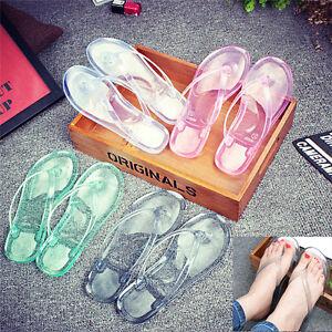 Women-Jelly-Thong-Flip-Flop-Transparent-and-Clear-Slides-Flat-Sandals-Summer-JR