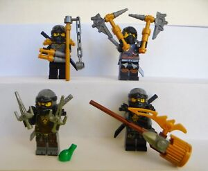 4x lego figuren ninjago cole waffen waffe haare helm maske. Black Bedroom Furniture Sets. Home Design Ideas