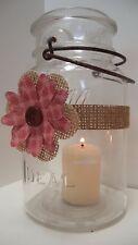 10  Burlap Red Pink Mason Jar Candle Centerpiece Wedding Decorations Wraps N20