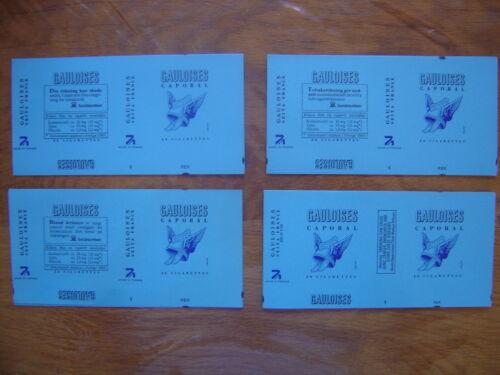 COLLECTION 4 emballages paquets de GAULOISES Suede Sweden JACNO marqués 1985