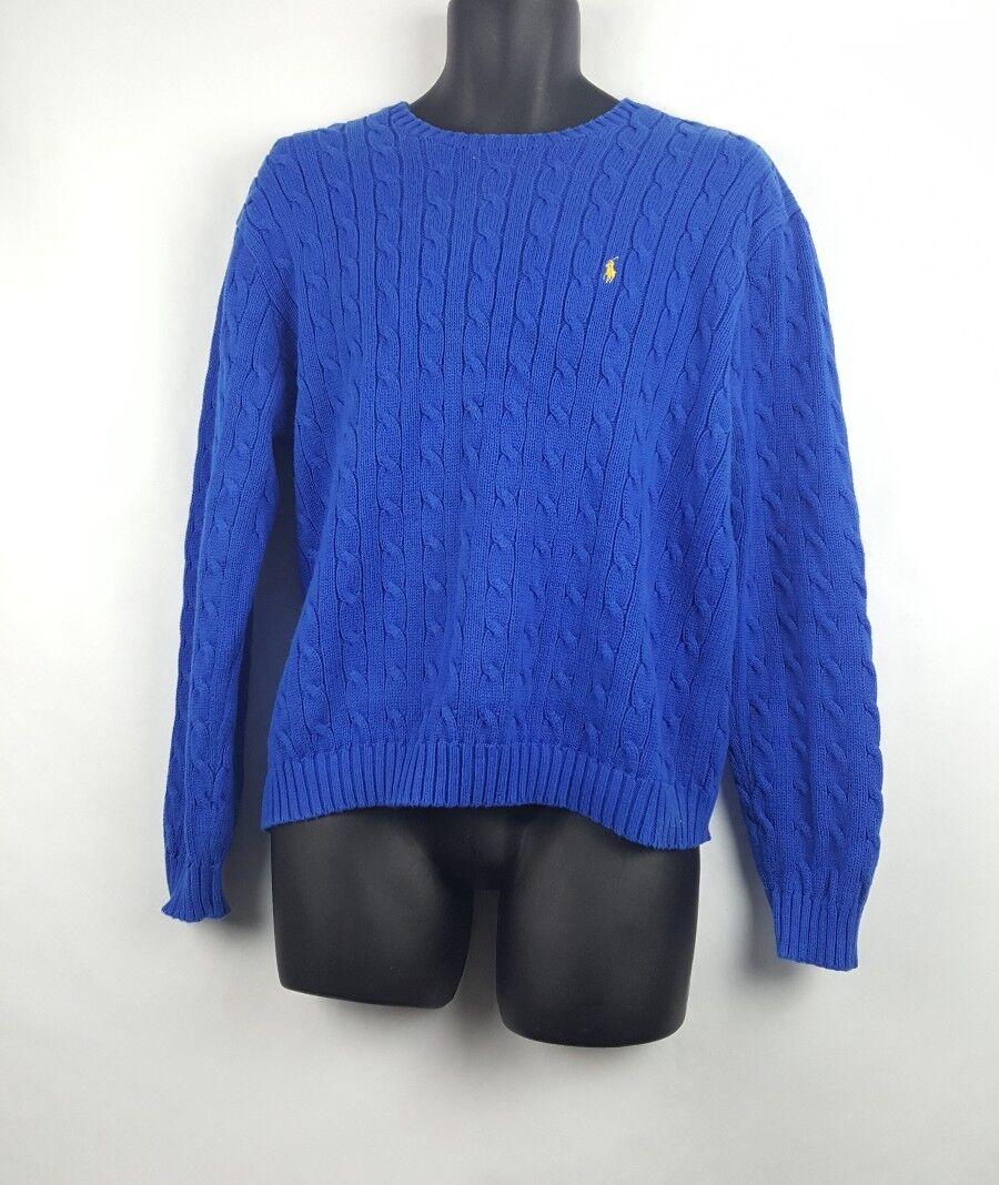 Vintage Ralph Lauren Sport Sweater XL Blau - Gelb Pony 80s 90s H4