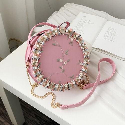 Women Girls Round Sling Chain Bag Pearl Floral Shoulder Handbag Crossbody B LD