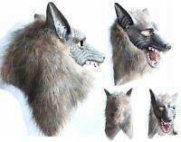 Creepy Wolf Latex Head Mask Cosplay Animal Halloween Party Costume Theater Prop