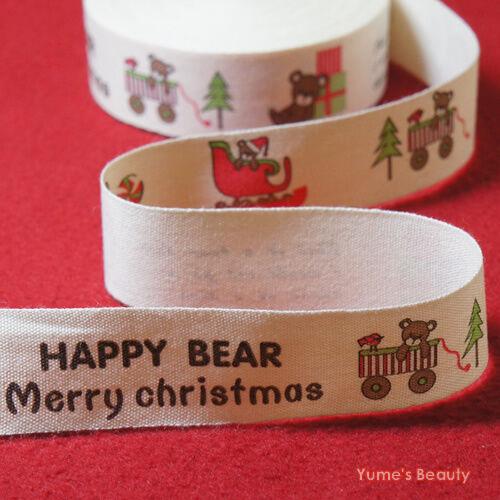 2 yards: Cut & Sew Labels/ Fabric Ribbon Christmas Theme Happy Bear DIY