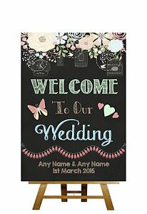 Image Is Loading Pretty Chalkboard Style Welcome To Our Wedding Personalised
