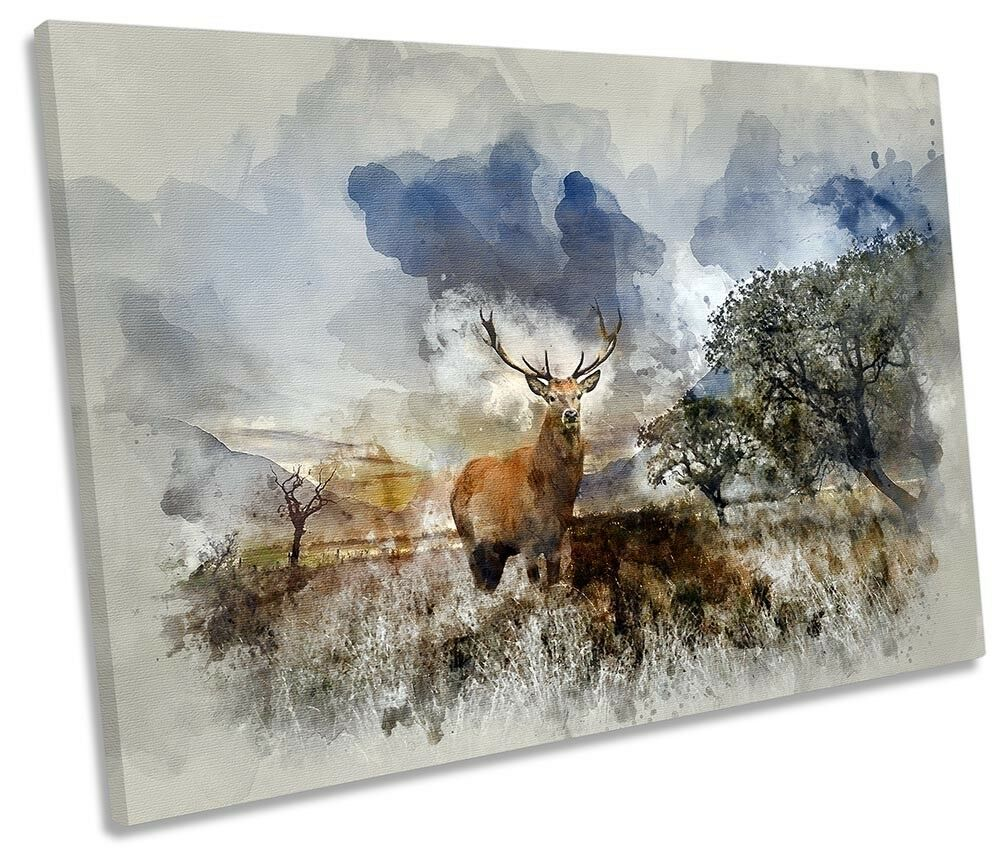 Stag Deer Landscape Highlands SINGLE CANVAS WALL ARTWORK Print Art