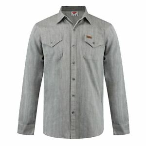 Lee-Cooper-Hombre-Denim-Camisa-Manga-Larga-frontal-abotonado-dos-bolsillos-en-el-pecho-Algodon