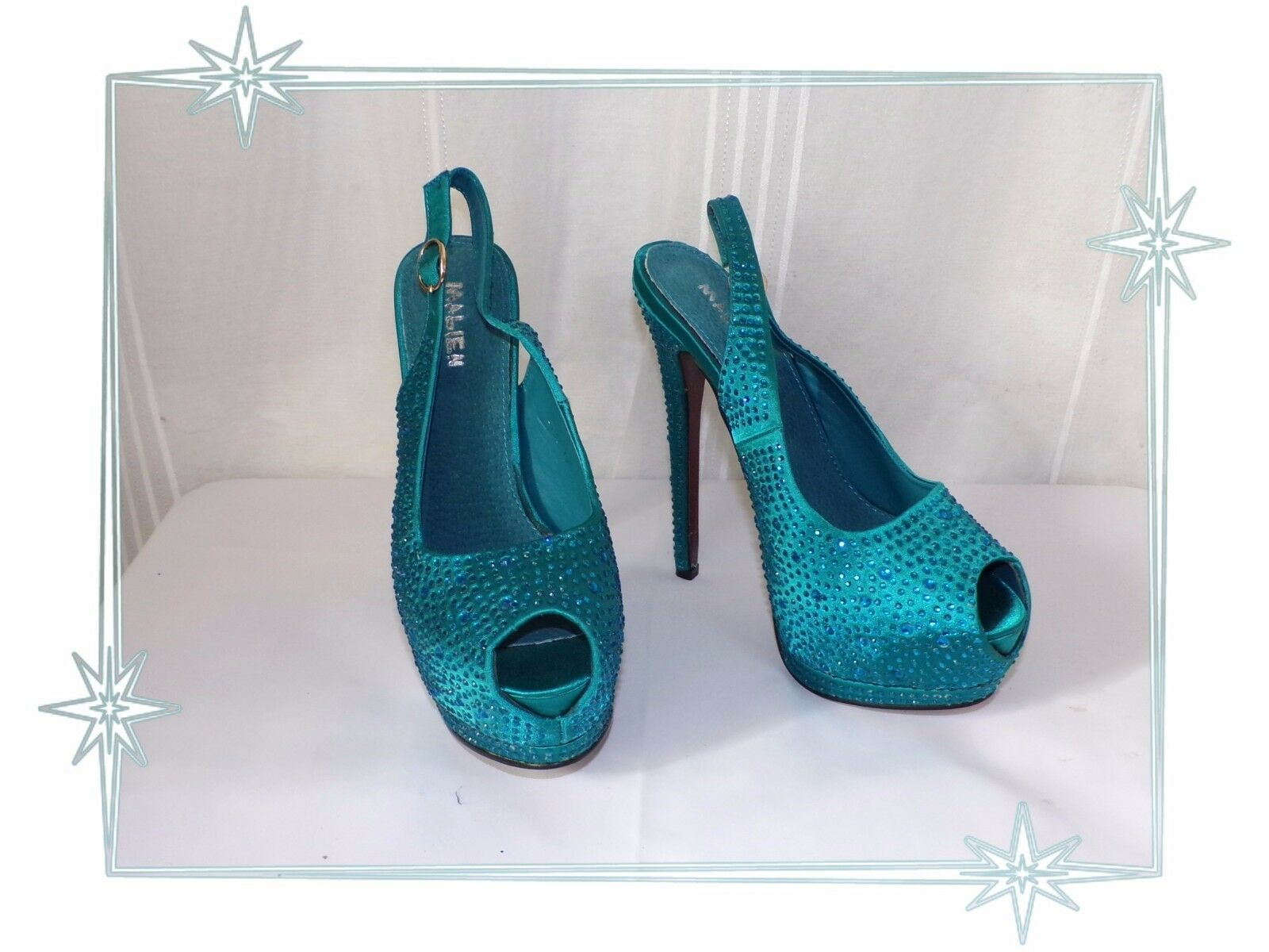 F - Magnifiques zapatos Talons Plateformes azul azul azul Turquoise Strass Malien P 39 8bb625