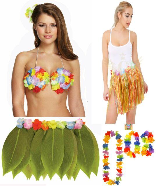 Green Hula Leaf Skirt 4 Pc Lei Set Pineapple Glasses Hawaiian Beach Party Fancy