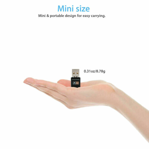 600Mbps Dual Band 2.4G//5G Hz Wireless Lan Card USB PC WiFi Adapter 802.11AC US
