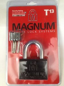 Details about MAGNUM HIGH SECURITY PADLOCK T13 3 KEYS HEAVY DUTY HARDENED  STEEL Mul T Lock
