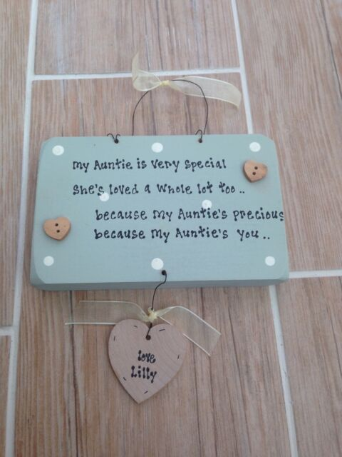 Shabby Personalised wooden chic plaque Auntie Aunt Aunty Great Auntie Any Name