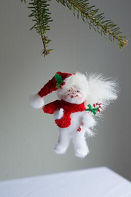 "Annalee COZY CHRISTMAS KITTY unbreakable soft Tree Ornament 3"" w/ SANTA Hat NEW!"