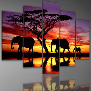 farbe w hlbar leinwandbilder bild bilder 200x100 cm 6764 afrika elefant savanne ebay. Black Bedroom Furniture Sets. Home Design Ideas