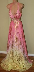 Womens-Stunning-Yellow-and-Pink-Formal-Gown-Mac-Duggal-Size-2