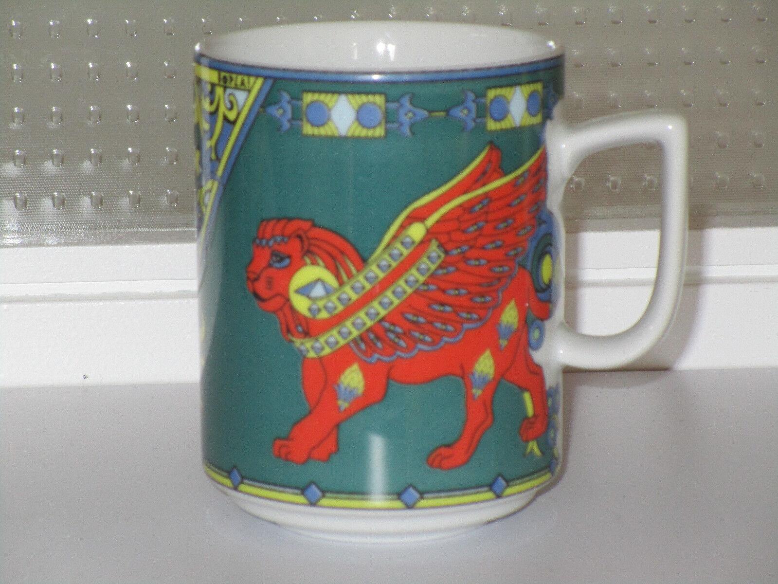 BOPLA PorzellanTasse Mug Haferle, H 9,9 9,9 9,9 cm, Dekor Löwe mit Flügeln grün      Gute Qualität  864771